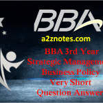 BBA 3rd Year Strategic Management Business Policy Very Short Question Answers