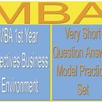 MBA 1st Year Objectives Business Environment Question Answer Model Practice Set