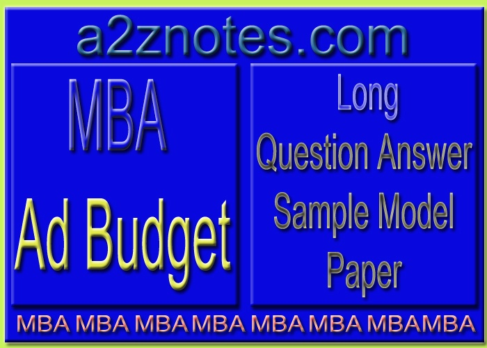 MBA Ad Budget Long Sample Model Paper in English
