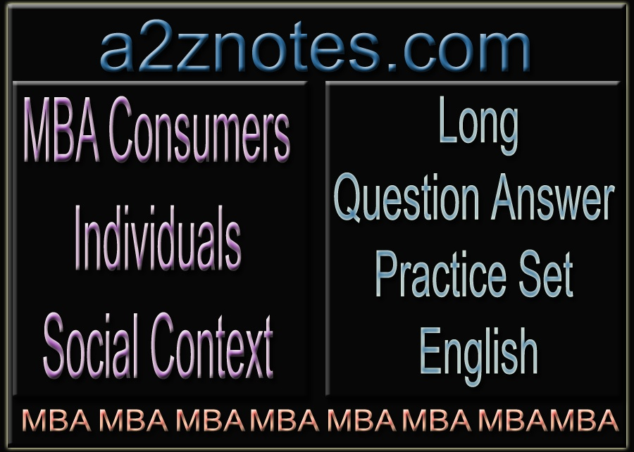 MBA Consumers Individuals Social Context Question Practice Model Set in English