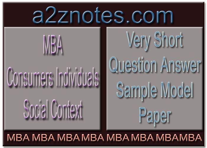 MBA Consumers Individuals Social Context