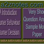 MBA Introduction Consumer Behaviour Consumer Decision Very Short Question Answer