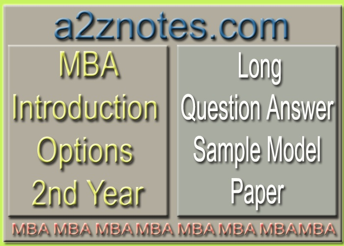 MBA Introduction Options 2nd Year Semester IV Long Sample Model Paper