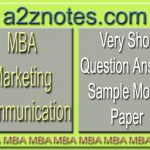 MBA Marketing Communication Question Answer Sample Model Paper