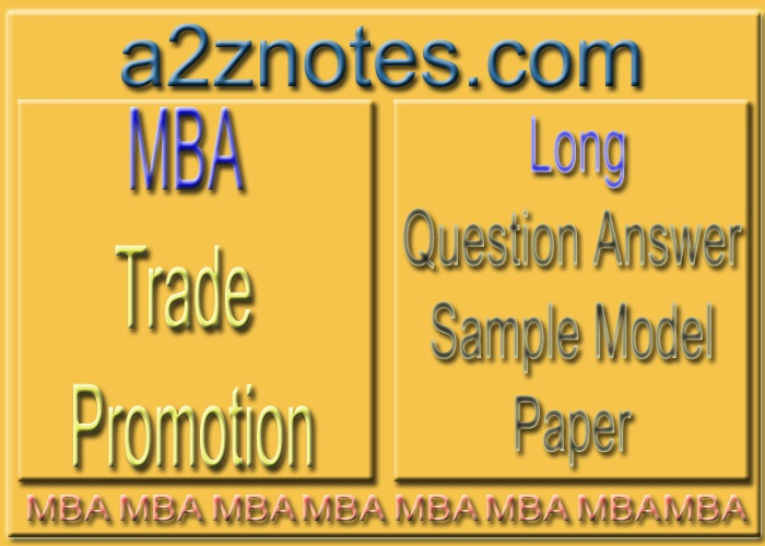 MBA Trade Promotion Long Question Answer Set in English